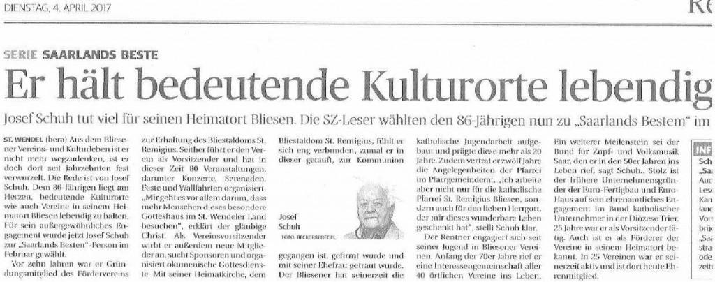 """Josef Schuh """"Saarlands Bester"""""""