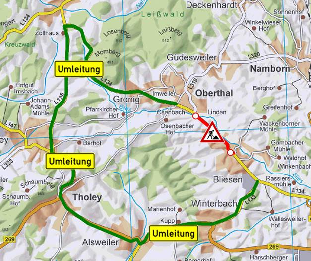 Umleitung LfS wegen Erneuerung der L134 Bliesen - Oberthal